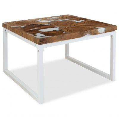 Coffee Table Teak Resin 60x60x40 cm White and Brown