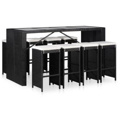 43966  9 Piece Outdoor Dining Set Poly Rattan Black