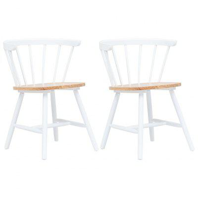 Dining Chairs 2 pcs White and Light Wood Solid Rubber