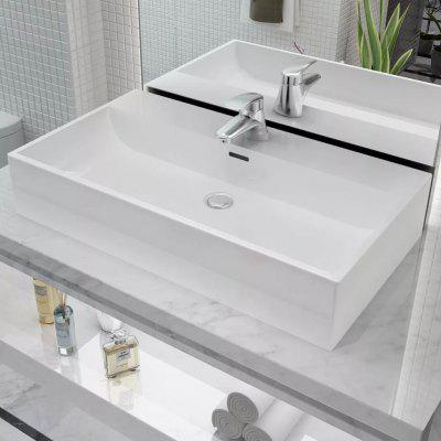 Basin with Faucet Hole Ceramic White 76x42.5x14.5 cm