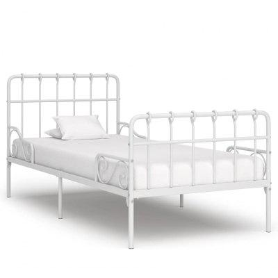 Bed Frame with Slatted Base White Metal 90x200 cm