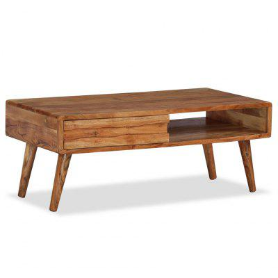 Coffee Table Solid Wood with Carved Drawer 100x50x40 cm