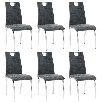 modern Dining Chairs 6 pcs Black Faux Leather