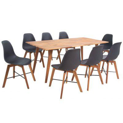 Nine Piece Solid Acacia Wooden Dining Set Black