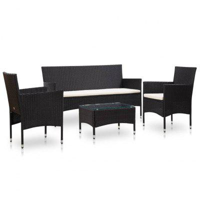 Garden Lounge Set With Cushions Poly Rattan 4 Pieces