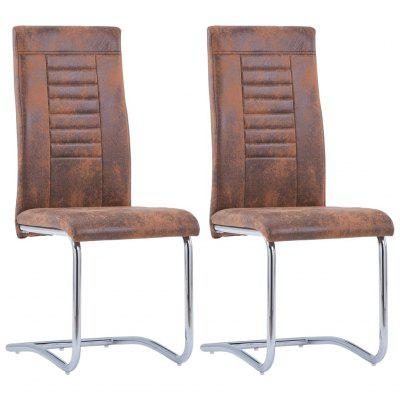Cantilever Dining Chairs 2 pcs Brown Faux Suede Leather