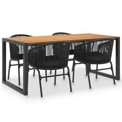 5 Piece Outdoor Dining Set Solid Acacia Wood and PVC Rattan
