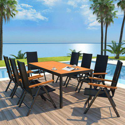 9 Piece Outdoor Dining Set WPC and Poly Rattan Black 1 set metal soprano sax mouthpiece ligature and cap 6 7 9