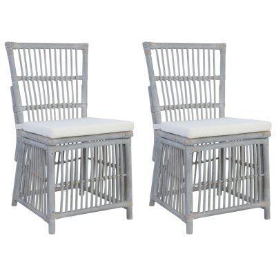 Dining Chairs with Cushions 2 pcs Grey Natural Rattan