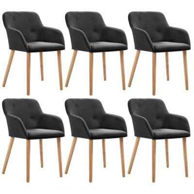 Dining Chairs 6 pcs Dark Grey Fabric and Solid Oak Wood