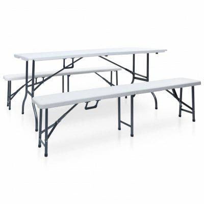 Folding Garden Table with 2 Benches 180 cm Steel and HDPE