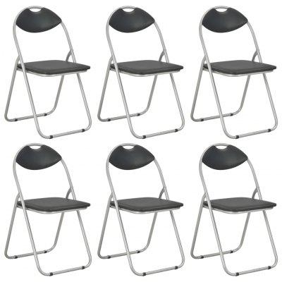 Folding Dining Chairs  Black Faux Leather 6 pcs