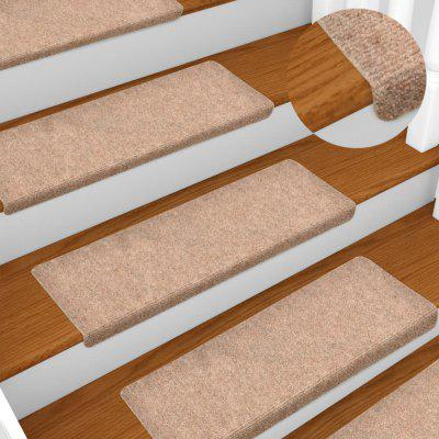 Stair Mats 15 pcs Needle Punch 65x25 cm Brown