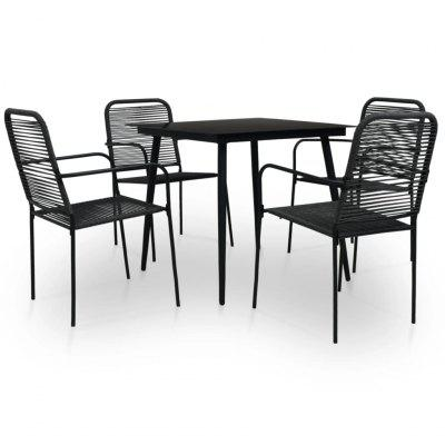 5 Piece Outdoor Dining Set Cotton Rope and Steel Black