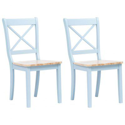 Dining Chairs 2 pcs Grey and Light Wood Solid Rubber