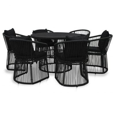 7 Piece Dining Set with Cushions and Pillows PVC Rattan Black