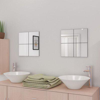 Frameless Mirror Tiles Glass 16 pcs 20.5 cm