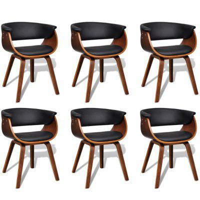 Modern Artificial Leather Wood Dining Chair 6 pcs