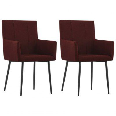 Dining Chairs with Armrests 2 pcs Wine Red Fabric