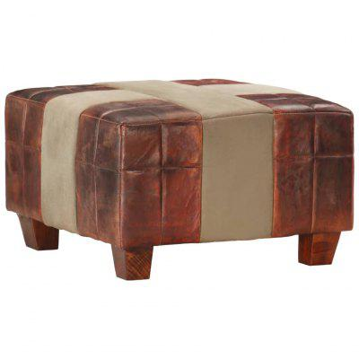 Single Seater Stool Dark Brown and Grey Real Goat Leather