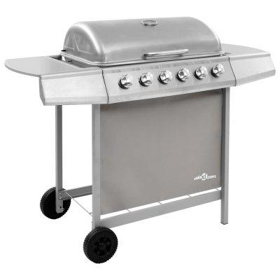 Gas BBQ Grill with 6 Burners Silver   Gas BBQ Grill with 6 Burners Silver