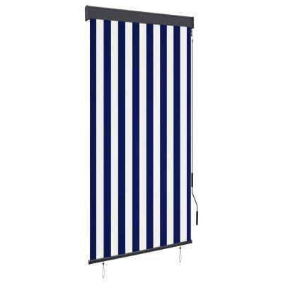 Outdoor Roller Blind 80x250 cm Blue and White