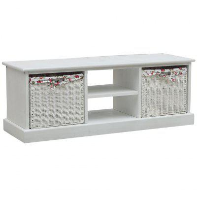 TV Cabinet with Two Baskets White Wood