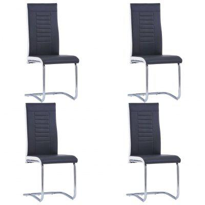 Cantilever Dining Chairs 4 pcs Black Faux Leather