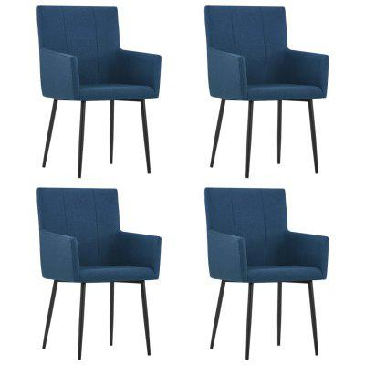 Dining Chairs with Armrests 4 pcs Blue Fabric