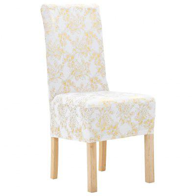 4 pcs Straight Chair Covers Stretch White with Golden Print