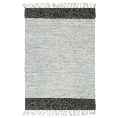 Handwoven Chindi Rug Leather 190x280 cm Light Grey and Black