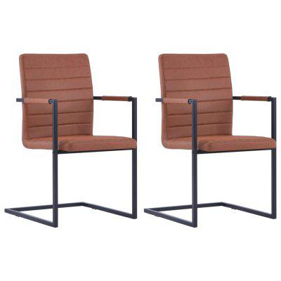 Cantilever Dining Chairs 2 pcs Brown Faux Leather