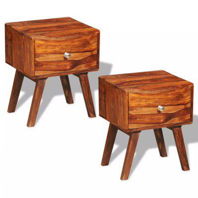 Nightstand 2 pcs with 1 Drawer 55 cm Solid Sheesham Wood
