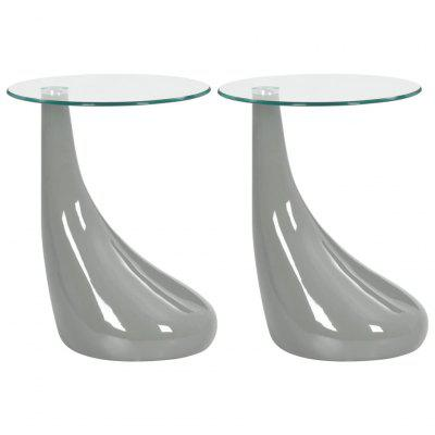 Coffee Tables 2 pcs with Round Glass Top High Gloss Grey