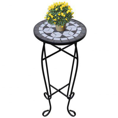Mosaic Side Table Plant Black White