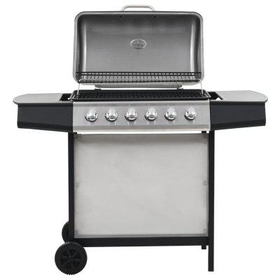 Gas BBQ Grill with 6 Cooking Zones Steel Black