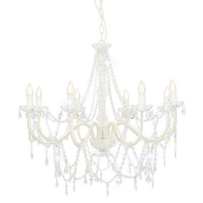 Chandelier with Beads White 8 x E14 Bulbs