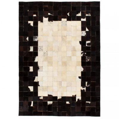 Rug Genuine Leather Patchwork 80x150 cm Square Black/White