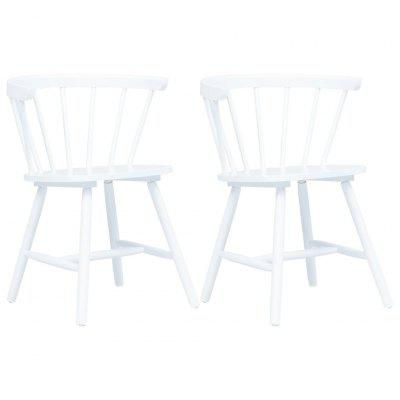 Dining Chairs 2 pcs White Solid Rubber Wood