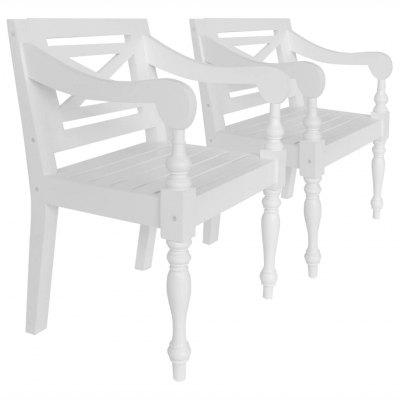 Batavia Chairs 2 pcs White Solid Mahogany Wood