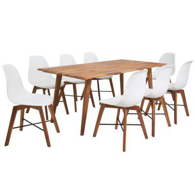 Nine Piece Solid Acacia Wooden Dining Set White