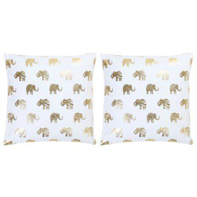 Cushions 2 pcs Foil Print White and Gold  Cotton