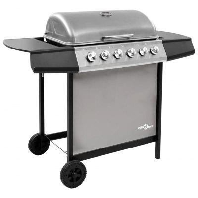 Gas BBQ Grill with 6 Burners Black and Silver   Gas BBQ Grill with 6 Burners Black and Silver