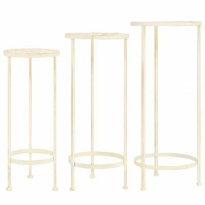 Plant Stand Set 3 Pieces Vintage Style Metal Antique White