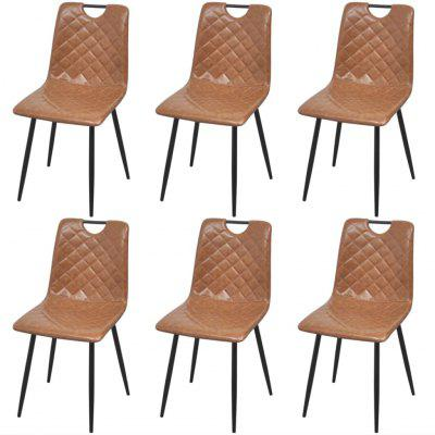 Dining Chairs 6 pcs Artificial Leather Light Brown