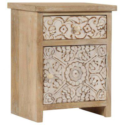 Bedside Table Solid Mango Wood 40x30x50 cm