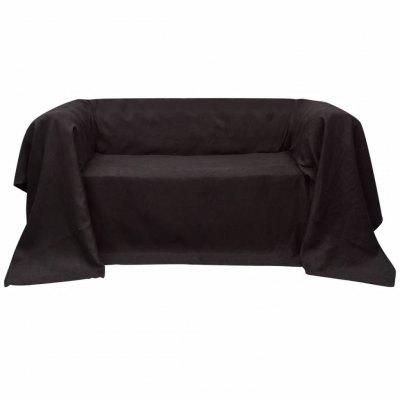 Microsuede Couch Slipcover Brown 140 x 210 cm
