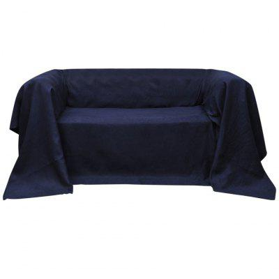 Microsuede Couch Slipcover Navy Blue 140 x 210 cm