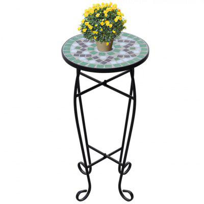 Mosaic Side Table Plant Green White