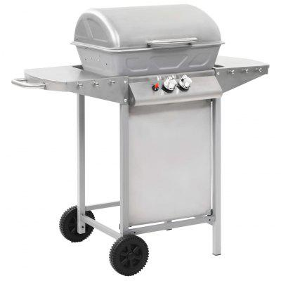 Gas BBQ Grill with 2 Cooking Zones Silver Stainless Steel